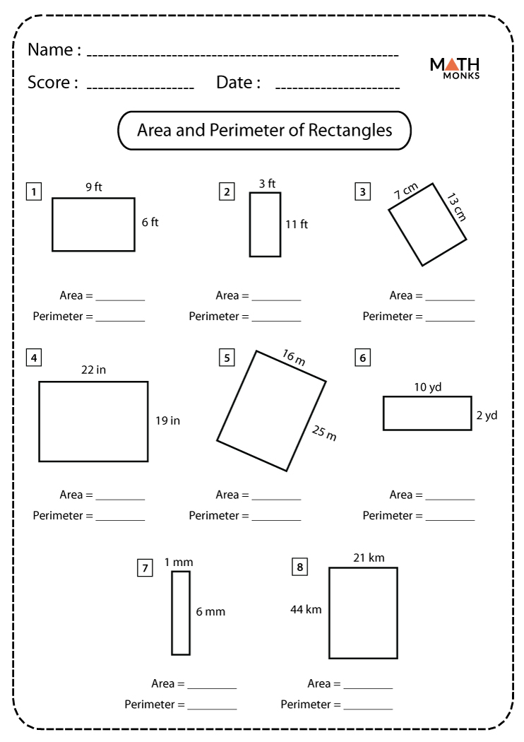 Area and Perimeter of Rectangles Worksheets   Math Monks