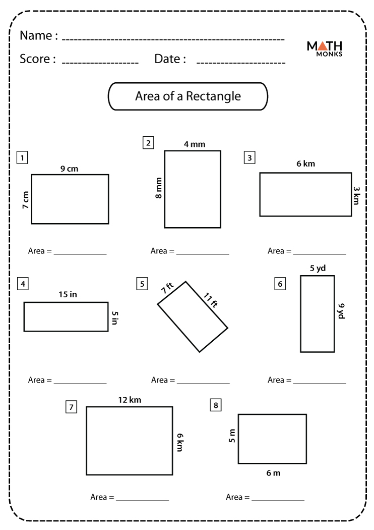 Area of a Rectangle Worksheets   Math Monks