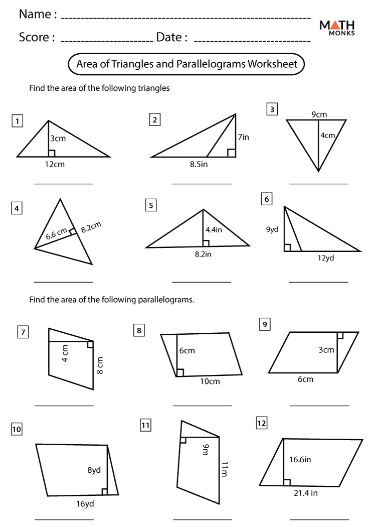 Area of Triangles and Parallelograms Worksheets - Math Monks Throughout Area Of Rhombus Worksheet