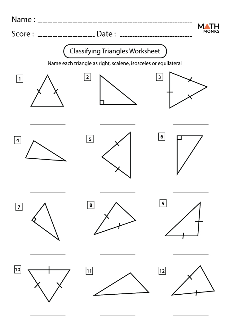 Classifying Triangles Worksheets | Math Monks