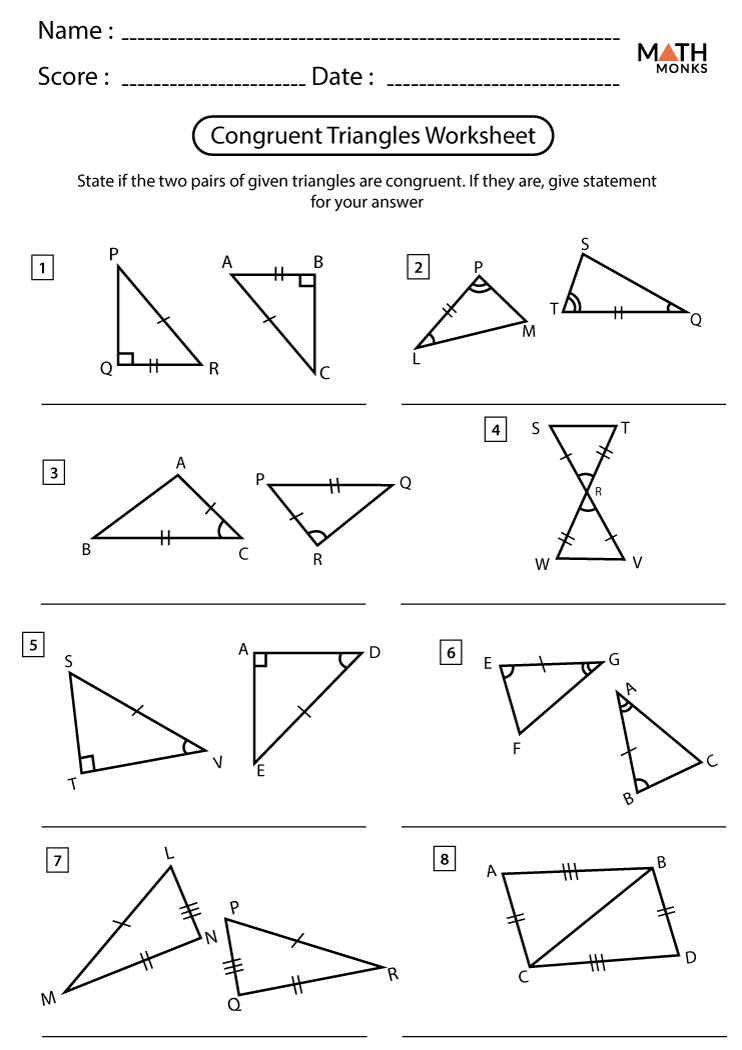 Congruent Triangles Worksheets - Math Monks In Congruent Triangles Worksheet With Answer