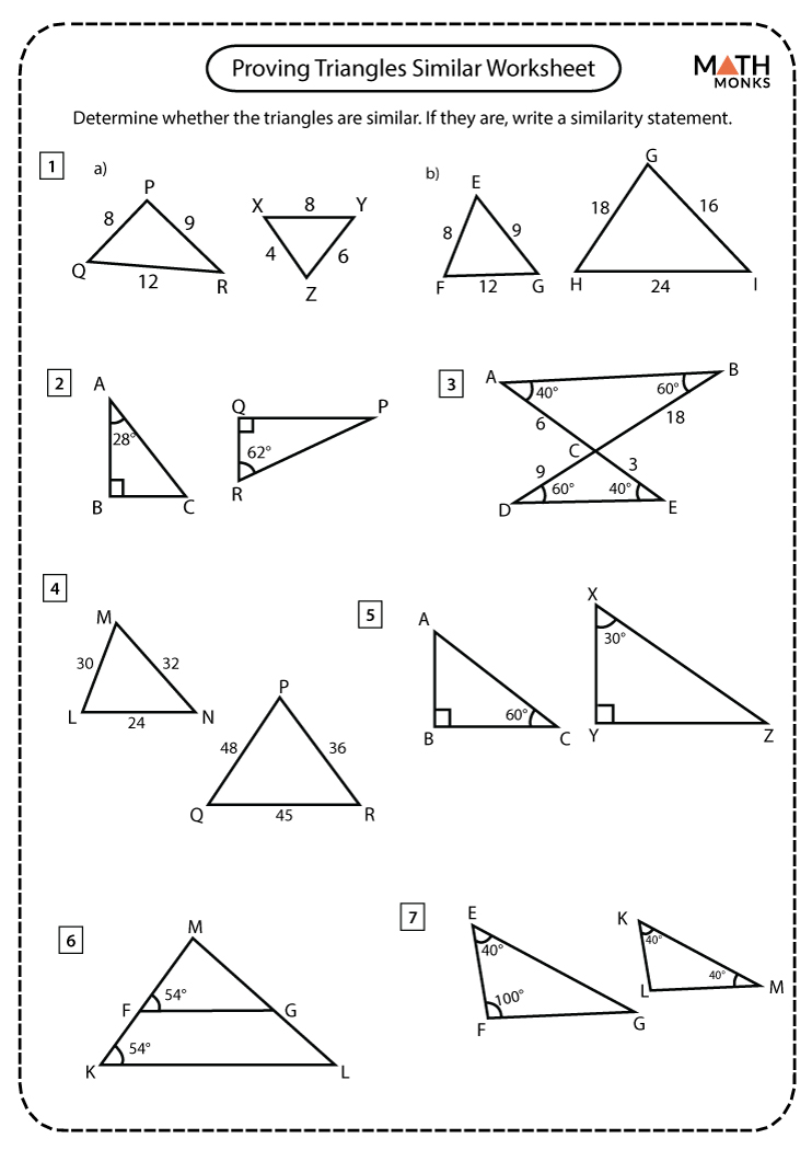 Similar Triangles Worksheets - Math Monks For Proving Triangles Similar Worksheet