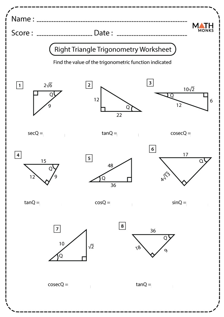 Right Triangle Trigonometry Worksheets  Math Monks Inside Right Triangle Trig Worksheet