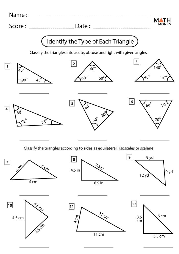 Triangle Worksheets - Math Monks Pertaining To Triangle Inequality Theorem Worksheet