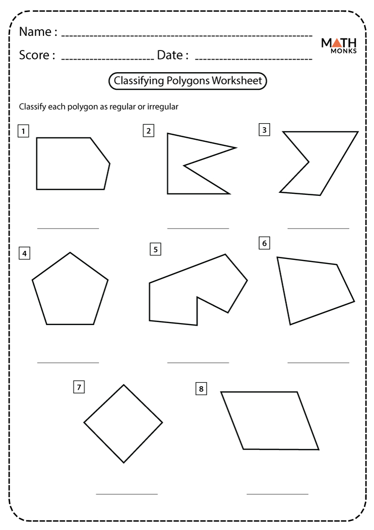 Classifying or Identifying Polygons Worksheets   Math Monks